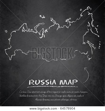 Russia map blackboard chalkboard vector