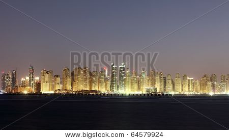 Dubai Marina Skyline At Night