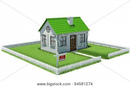 House on plot of grass with fence