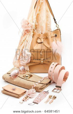 beige fashion accessories
