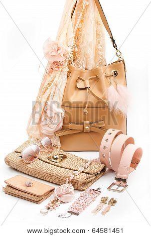 beige fashion accessories