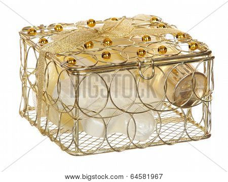 Gold casket  isolated  white background.