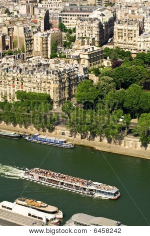 Touristic Ship On Seine River, Paris