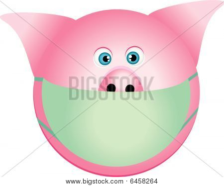 pig with mask. (Swine Flu)