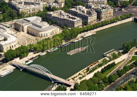 Bridge And Ship On Seine, Paris