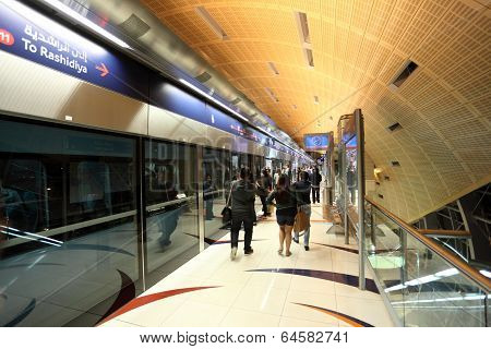 Metro Station Platform In Dubai City, United Arab Emirates