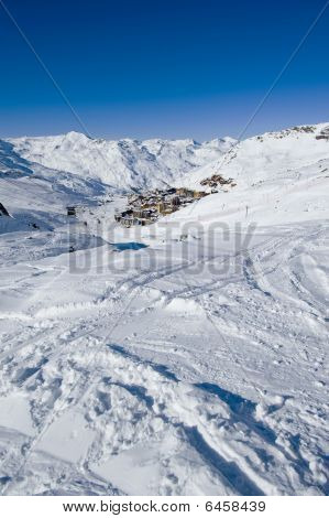 View of mountain village from ski slopes