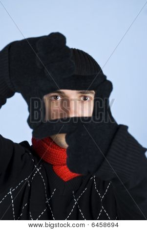 Winter Man Framing Face