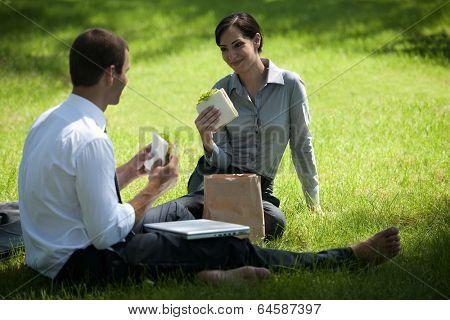 Colleagues having lunch break outdoors