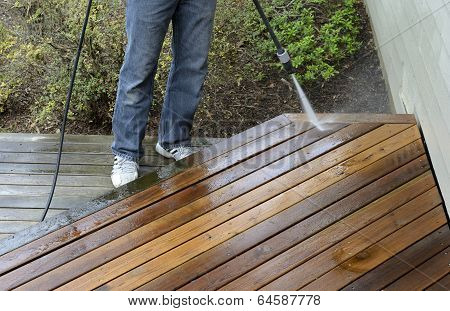 Man Power Washing Deck