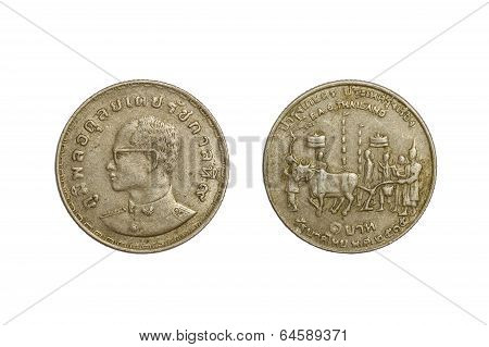 Old Thai Coins 1 Baht Year 1972 Isolated On White Background