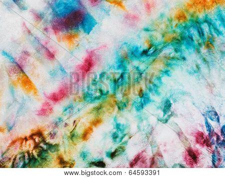 Batik - Abstract Varicolored Pattern On Silk