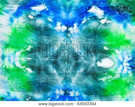 Silk Batik - Abstract Green Blue Spots Ornament