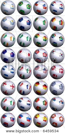 Soccer Balls With All Flags Of South Africa Competitors