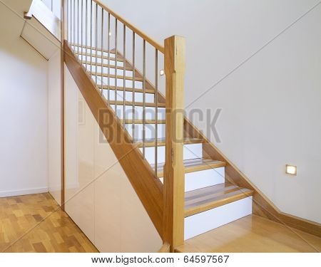 Oak And White Stair Case Home Interior