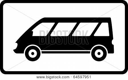 icon With Black Mini Bus Silhouette