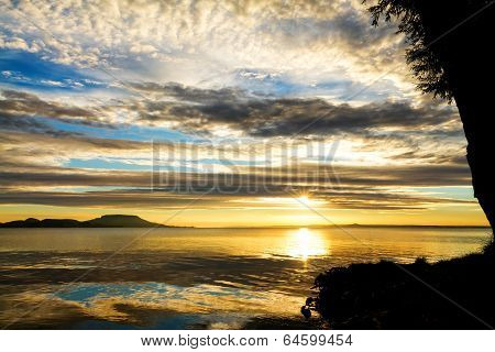 Beautiful Sunrise Over The Lake Balaton Of Hungary