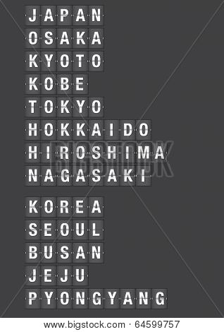 Name Of Cities In Japan And Korea On Airport Flip Board