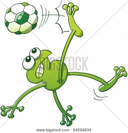 Frog executing a bycicle kick with a soccer ball