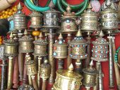 image of mantra  - Nepalese hand drums with mantras - JPG