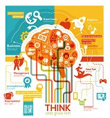 stock photo of right brain  - Creative Brain Illustration - JPG
