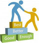 image of mentoring  - Mentor helping person achieve good enough better and best improvement on evaluation - JPG