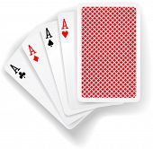 pic of poker hand  - Four aces in five card poker hand playing cards with back design - JPG