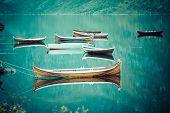 stock photo of reining  - Fishing boat in harbour Reine Lofoten Islands Norway - JPG