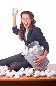 image of discard  - Woman with lots of discarded paper - JPG