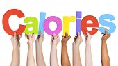 stock photo of obese man  - Diverse Hands Holding The Word Calories - JPG