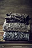 image of leg warmer  - Still Life with Wool Sweaters and Leg Warmers - JPG