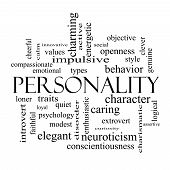 image of character traits  - Personality Word Cloud Concept in black and white with great terms such as cheerful character behavior and more - JPG