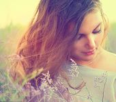 foto of lavender field  - Beauty Romantic Girl Portrait - JPG
