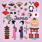 stock photo of geisha  - Japan landmarks and cultural icons vector set with Geisha girls  Torii Gates  sumo wrestler  fans  panda  paper lantern  bonsai  cherry blossom  koi  bamboo  tea and rice - JPG