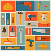 stock photo of sawing  - Repair and construction working tools icon set - JPG