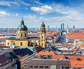 stock photo of bavaria  - Aerial view of Munich over Theatine Church of St - JPG
