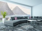 picture of settee  - Picture of airy living room interior with marble floor and couch - JPG