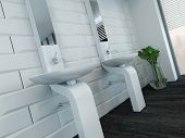 picture of wash-basin  - Picture of modern design white wash basin and faucet - JPG