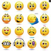 stock photo of emoticons  - Vector set of smiley icons with different face expression - JPG