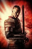 image of sword  - Portrait of a courageous ancient warrior in armor with sword - JPG