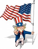 stock photo of uncle  - Vector Cartoon Illustration of Uncle Sam holding a waving American flagand pointing  - JPG