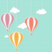 pic of applique  - Hot air balloons and clouds in paper cutout style - JPG
