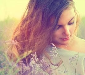 foto of violet flower  - Beauty Romantic Girl Portrait - JPG