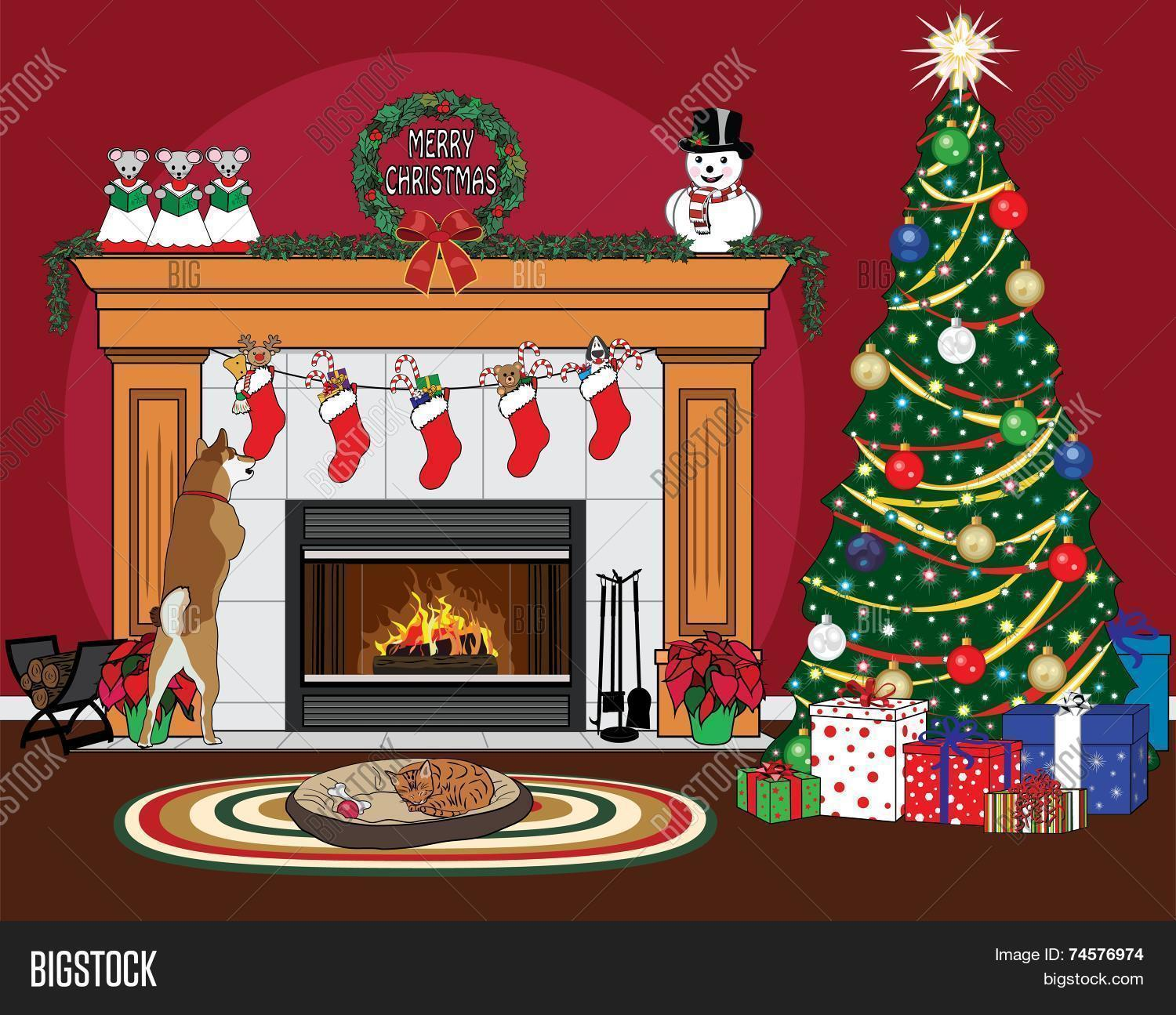 christmas fireplace scene on red vector u0026 photo bigstock