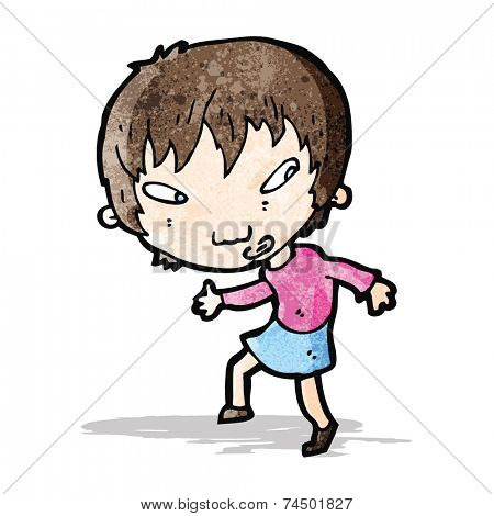 cartoon girl sneaking