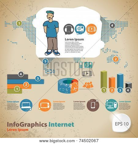 Template For Infographic With Statistics Global Hobbies