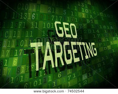 Geo Targeting Words Isolated On Digital Background