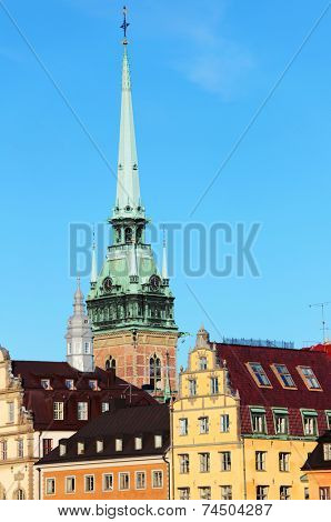 Spire of German church over the Gamla Stan, Stockholm, Sweden