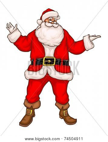 Santa Claus in Christmas suit. Eps8 vector illustration. Isolated on white background