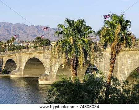 LAKE HAVASU, USA - AUG 5, 2009: London Bridge in Lake Havasu old historic bridge rebuilt with original stones in America